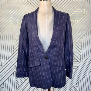 J. Crew Boy Blazer in Pinstriped Linen Navy Blue